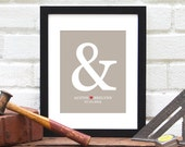 Personalized Valentine Gift for Him : Custom Ampersand Wedding Date, Bridal Shower, Congratulations Engagement Date Gift - 8x10 Art Print