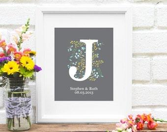 Last Name Personalized Monogram Art Print - Monogrammed Wedding Gifts, Established Sign, Bridal Shower Gift, Last Name Sign - 8x10 Art Print