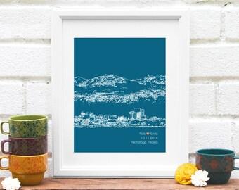Anchorage City Skyline Art, Anchorage Alaska Skyline, Personalized City Print, Wedding Gift, Alaska Honeymoon, City Skyline - 8x10 Art Print