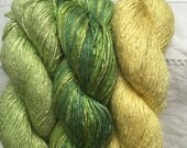Silk Yarn - Medina cowl pack - Greens READY TO SHIP
