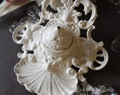 Gorgeous Early American Rococo Style Cast Iron WHITE Ink Well