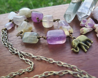 Elephant Crystal Necklace - Pendant Wire Wrapped Brass Chain - Fluorite - Lavender Purple Pastel - Long Style - Boho Bohemian - Gemstone