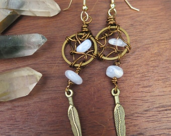 Dreamcatcher Inspired Earrings - Blue Lace Agate Perriwinkle - Boho Luxe Gold Filled Wire Wrapped - Luxury Bohemian Gemstone Crystal Jewelry
