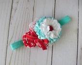 Red and Aqua checkered delight  Headband for girls Newborn photo prop
