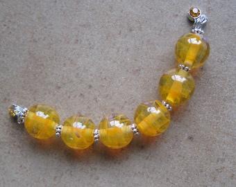 Lampwork Beads - SueBeads - Round Beads - Wispy Mimosa Round Bead Set - Handmade Lampwork Beads - SRA M67