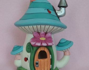Ceramic Fairy Garden House - Fairy Garden - Striped Fairy House - Fairy Village - Fairy Accessories - Turquoise Fairy House