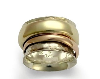 Silver Wedding Band, Gold wedding band, Spinning Ring, anxiety Ring, fidget ring, unique Wedding Band, Wide Band - Wonderland forever R1026A