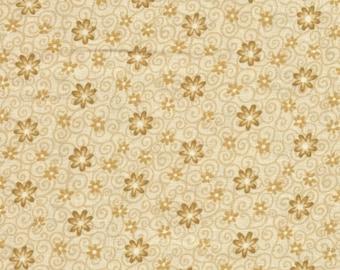 Floral Scroll beige Fabric 1 Yard Last Chance