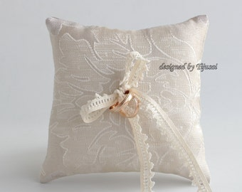 Beige ornamental wedding ring bearer pillow, ring bearer pillow, wedding pillow , ring bearer, ring cushion-ready to ship