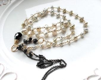SALE - 40% Off - Black Diamond Rough Beads Saltwater Keshi Pearls Mixed Metal Layering Necklace - 12cts. Black Diamonds