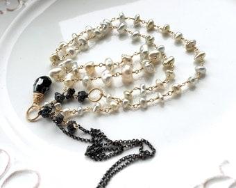 Black Diamond Rough Beads Saltwater Keshi Pearls Mixed Metal Layering Necklace - 12cts. Black Diamonds