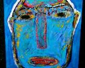 Original Portrait Painting 16x20 Canvas Raw Brut Outsider Folk Art by Tracey Ann Finley