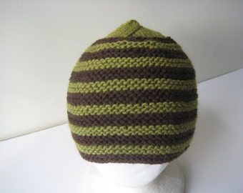 knit hat brown and green hand knit hat