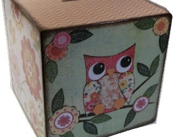 "EXTRA, Extra Large Wooden Coin Bank Box Personalized 8""x8""x8"" Boy Piggy Bank Coin Box Prayer Box, Owls - Other Designs,Baptism MADE To ORDER"