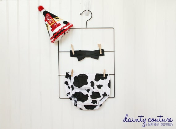 Western First Birthday Hat Bow Tie Diaper Cover
