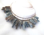 Spiky Slate Blue Crusty and Rustic Looking Kyanite Beads Shards Strand