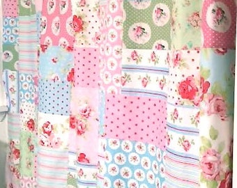 Custom Patchwork Style Shower Curtain Fully Lined with Tanya Whelan Fabrics Shabby Chic Decor Or Any Other Fabric Of Your Choice