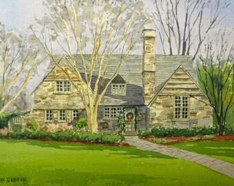 9x12 Custom Home Watercolor Portrait