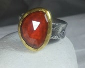 RESERVED FOR dSpessartite Garnet Statement Ring, 22 kt yellow  gold , silver  and Stone Solitaire ring,