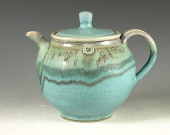 Pottery teapot in turquoise glaze 6 cups loose leaf