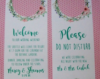 Hotel Door Hangers - RUSTIC BOHO - Double Sided for Out of Town Wedding Guests - Do Not Disturb - Flowers - Floral