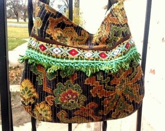 Blue and Gold Tapestry boho bag