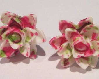 small pink green white splatter design lotus flower pierced post hand made earrings by Ziporgiabella