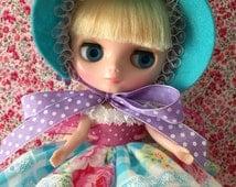 Middie Blythe Dolls...Aqua Bonnet and Dress Set.. Handmade and Ooak!!