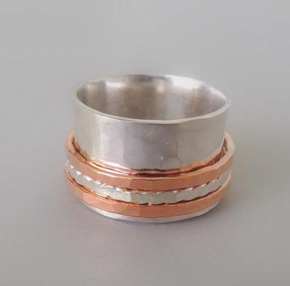 Sterling copper spinner ring - Sterling Wide Band Ring Sterling Fiddle ring  Meditation Ring SR101