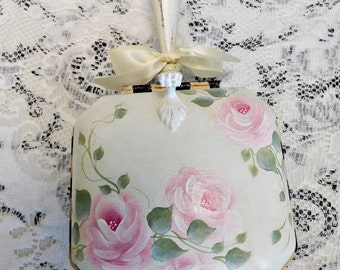 Vintage Butler's Helper, Hand Painted, Stately Checked Design  and Signature Cottage Roses and Swiss Dots, ECS