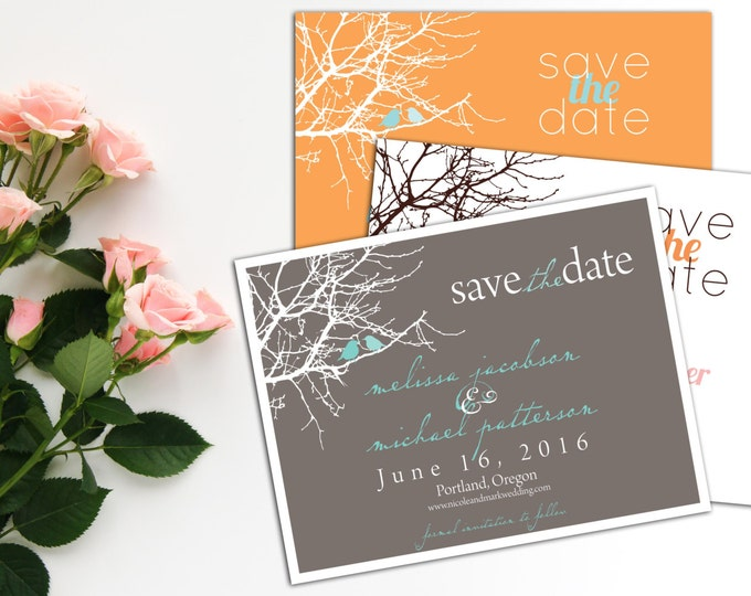 Birds Sitting in a Tree Save the Date Post Cards or with Envelopes, Wedding Save-the-Date Announcements, Engagement Announcements