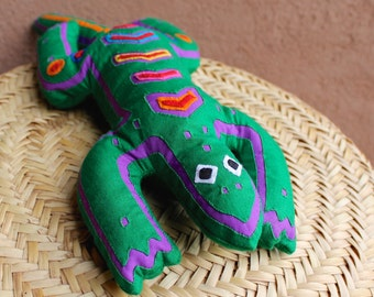 SALE! Green + Purple Beanbag Style Mola Applique Lizard - Cross-Cultural Mimbres and Kuna Indian Fabric Folk Art