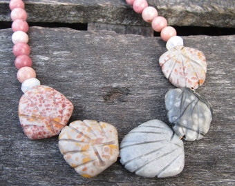 Coquille Gris Necklace - semiprecious jasper and rhodonite beads on gold metal necklace - Free Shipping to USA