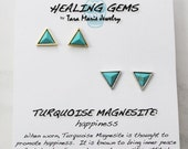 CIJ SALE HEALING Gems: Triangle stud earrings in Turquoise Magnesite for Happiness. Your choice of gold or silver plated. Gift boxed with me