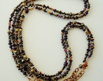 pyrite, shell and bead asymmetrical wrappable necklace - 58 inches