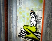 Mermaid Art Painting on Canvas Pop Art Style Original Artwork Stencil Urban Street