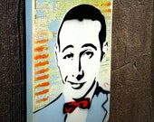 Pee Wee Herman Graffiti Painting on Canvas Pop Art Style Original Artwork Stencil Urban Street Art Comic Book Art