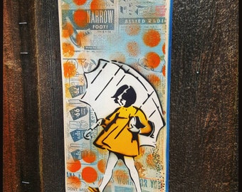 Salt Girl Graffiti Painting on Canvas Pop Art Style Original Artwork Stencil Urban Street Art