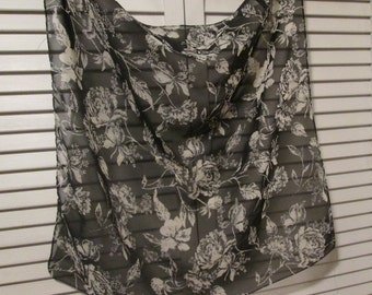 Small Vintage Chiffon Scarf - Black and Winter White Floral Scarf