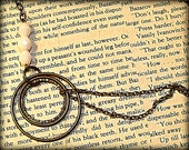 Antiqued Brass & Beaded long strand Bohemian Circle of Love Necklace Antique White Glass Beads Gift Women Teens Girls by Make Mine Pretty