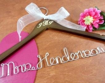 Engraved Wedding Hanger  -Monogrammed Brown Wood - Silver Aluminum Wire - Bridal Hanger - Wedding Photo Props - Gift for Bride - Weddings