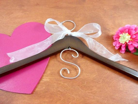 Monogram hanger bridal dress hanger wedding name hanger for Wedding dress hanger name