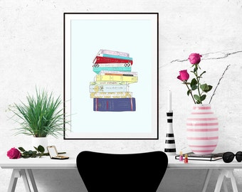 The Classics Book Stack Decorative Illustration Art Poster
