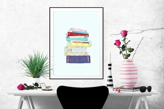 The Classics Book Stack Decorative Illustration Art Poster