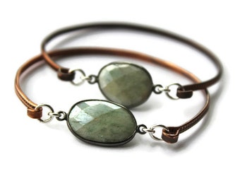 Stacking  Bangle bracelets, Green Quartz Bangle, Mixed metal bangle,Layering stacking bangles,  Bangle bracelet