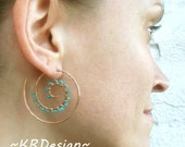 Solid Copper - Rose Gold - Turquoise - Swirl Earrings / Free US Shipping