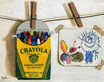 Crayola Crayons & Drawing realistic still life painting