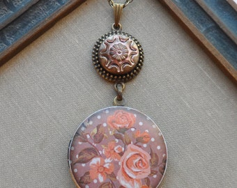 50% Off Antique Button Locket Necklace- Blushing Rose