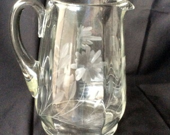 Old etched glass pitcher from Erie PA farmhouse