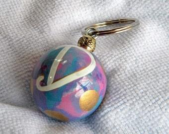 Initial D key fob - Monogram keychain - initial key chain - keychain with D - Ball Keychain - initial - gold dots - custom keychain - purple